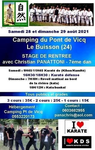 STAGE DE RENTREE LE BUISSON (24) 28/29 AOUT 2021