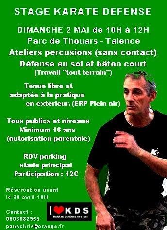 STAGE KARATE DEFENSE LE 02/05/2021 A TALENCE – PARC DE THOUARS